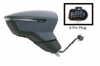 Seat Leon MK3 [13 on] Complete Electric Adjust & Heated Wing Mirror Unit with LED Indicator - Primed